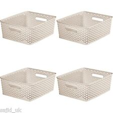 4x Curver Nestable Rattan Basket Small Storage Plastic Wicker Tray 8L - Cream
