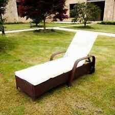 BIRCHTREE Rattan Day Chair Recliner Sun Bed Lounger Wicker Garden Terrace Brown