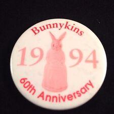 Vtg 1994 Royal Doulton Bunnykins Button Pin 60th Anniversary Badge Pinback Bunny