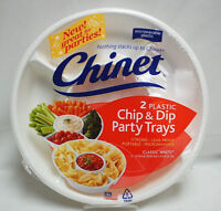 Chinet White Plastic Chip and Dip Party Trays Lots of 2 and 5 packs S8652