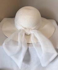 IMPORTINA Woman's Wide Brim Woven Straw Hat White  NEW