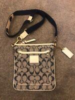 COACH Leather Grey Navy Small Crossbody Bag