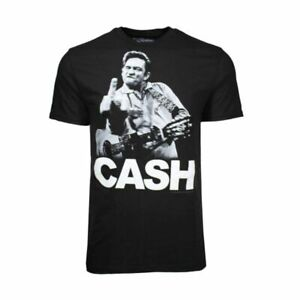 Johnny Cash Flip the Bird Black T-Shirt Men'S Officially Licensed Band Tee S-2XL