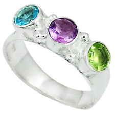 Topaz, Amethyst & Peridot Sterling Silver Ring - Free Postage