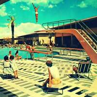 Mid Century Art Print, Las Vegas Sands Motel Pool, Mod Art like Poolside Gossip