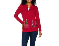 B-825 Quacker Factory Embroidered Sequin & Stud Tree Button Front Cardigan sz XL