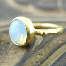 Handmade Brushed Round Cabachon Opalite Ring 24K Gold Over Sterling Silver