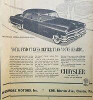 1952 Chrysler Imperial Chester Pennsylvania Dealership Newspaper Print Ad