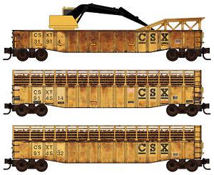 Micro-Trains MTL N-Scale CSX Weathered Tie Loader Gondola/Crane 3-Pack