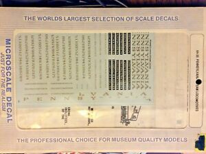 Microscale Decals 64-35 S Scale Pennsylvania Steam Locomotives NOS