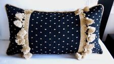 PAIR NEW Elegant BLACK & GOLD Spot Oblong Cushion covers with Silk & TASSEL trim