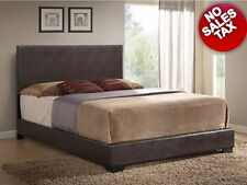 Leather Platform Bed Frame Upholstered with Headboard Faux Full Queen Size Brown