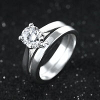 Size 6,7,8,9,10 Womens Band 2Pcs 18K Gold Filled White Topaz Wedding Ring Sets