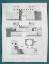ARCHITECTURE PRINT 1850 - GREECE Gate Walls Fortifications of Messena