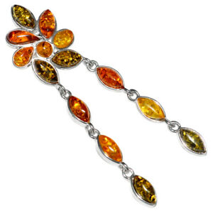 6.16g Authentic Baltic Amber 925 Sterling Silver Pendant Jewelry N-A1734