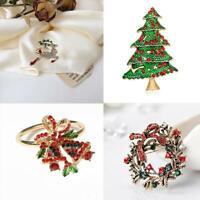 Christmas Tree Elk wreath Napkin Rings Holders for Christmas Dinner Parties