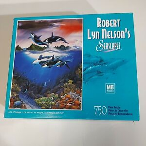MB Puzzle 750pc Seascapes Robert Lyn Nelson Sea of Magic Whales Orcas Hasbro