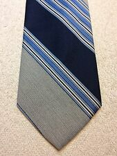 Vintage Cognizanti Mens Tie 3.75 X 56 Navy Blue With Gray And Light Blue