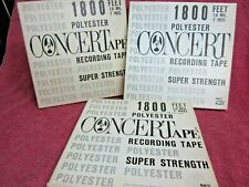 "3 Reels CONCERTAPE Recording Tape 1800 Ft 7""  to open reel"