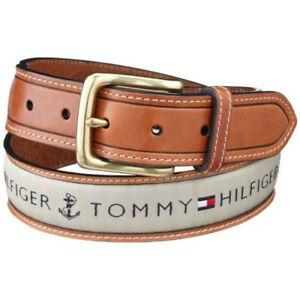Tommy Hilfiger 11TL02X032 Men's Fabric Inlay Leather Belt
