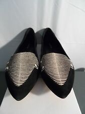 CALVIN KLEIN BEATRICE K SUEDE BLACK/WHITE STRIPE FLATS LOAFER SHOE SZ 7.5 NWB