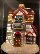 Blown Glass Christmas Ornament Building, House with Snow Year 2003