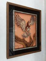 Lu Lus Inc. Owl Reverse Glass Painting Vintage Art 1970s Orem, Utah