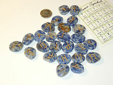Sodalite Engraved Rune Stone Set, with Runic Symbols Chart and Cloth Bag (10546)