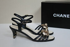 New  8 / 38.5 CHANEL Black Leather Ankle Sandal CC Flower Heel Shoes