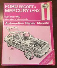 Ford Escort and Mercury Lynx 1981 Thru 1990 Haynes Repair  Manual #789
