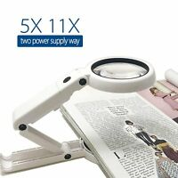 5X / 11X Magnifying Glass Magnifier With Light 8 LED Lamp Foldable Stand Table