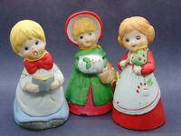 Christmas Merri Bells Lot of 3 1978 Caroler, girl with apron, choir boy Jasco