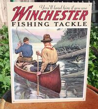 WINCHESTER FISHING TACKLE Tin Sign Wall Bar Garage Decor Classic Vintage