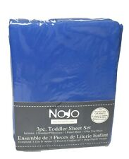 NoJo 3-Piece Toddler Sheet Set, Blue, Solid Blue Free Shipping