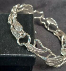 Vintage 70mm Artisan OOAK Bespoke Sterling Silver Gum Leaf Bangle 27 Grams