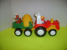 FISHER PRICE LITTLE PEOPLE FARM TRACTOR HAY WAGON SOUNDS & PIG IN HAYSTACK GUC