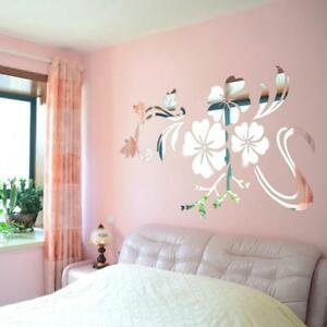 3D Mirror Flower Acrylic Mural Decal Removable Wall Sticker DIY Home Decor UK