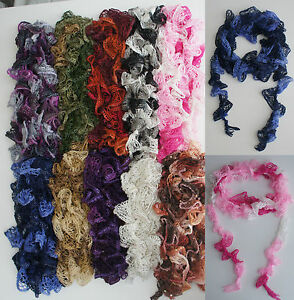 Hand made Ruffle Scarf approx 3m 3m LONG-BUY 2 get 3rd FREE Ruffle Scarf