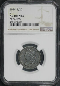 1834 C-1 Classic Head Half Cent NGC AU Details Cleaned
