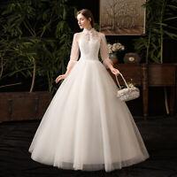 Elegant High Neck Half Sleeve Floor-Length 2019 New Bridal Gown Wedding Dress