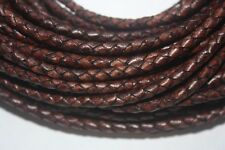 6 MM - Cherry Round Bolo Braided Genuine Leather Cord - Ship Fast