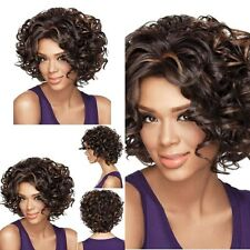 Women Shaggy Afro Curly Black Mixed Brown Lady Heat Resistant Fiber Wig Hair