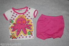 Baby Girls Outfit S/S KNIT TEE White OCTOPUS SEA CREATURES Pink Bloomers 0-6 MO