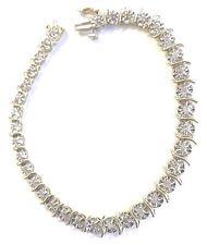 10 Karat Yellow Gold Classic S Style Diamond Tennis Statement Bracelet B51