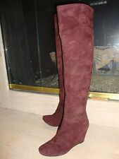 BEAUTIFUL NEW BRUNO PREMI BOOTS IN BURGUNDY SUEDE (NWB)