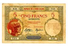 French Somaliland ... P-6b ... 5 Francs ... ND(1928-38) ... *VF+*