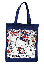 """Brand New Hello Kitty Union Jack London Tote Bag - 15"""" Blue British From Japan"""