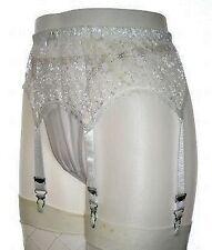 XSmall White Lace 6 Strap Retro Designer Suspender Belt Size 24-26 Inch Waist