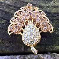 Vintage Diamanté Brooch Pin Gold Tone Claw Set Rhinestones Costume Jewellery