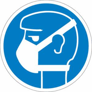 """Gebotsschild """"leichten Atemschutz benutzen"""" Kunstoffplatte ISO 7010 Ø20cm blau"""